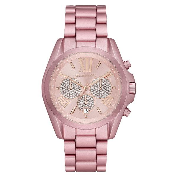 マイケルコース レディース 腕時計 アクセサリー Michael Kors Bradshaw Crystal Pav Chronograph Bracelet Watch, 43mm Pink/ Rose Gold/ Pink