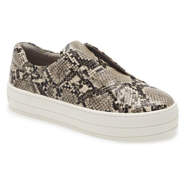 ジェースライズ レディース スニーカー シューズ JSlides Heidi Platform Slip-On Sneaker (Women) Beige/ Black Leather