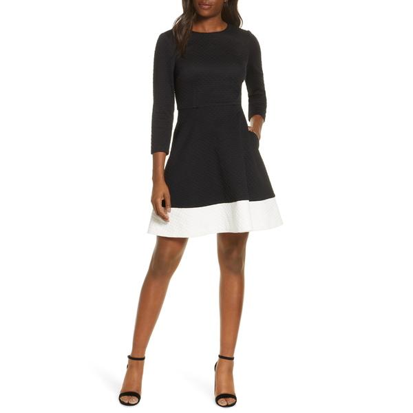 エリザジェイ レディース ワンピース トップス Eliza J Textured Fit & Flare Dress Black