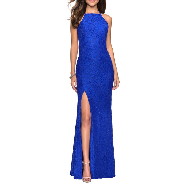 ラフェム レディース ワンピース トップス La Femme High Neck Lace Gown Electric Blue