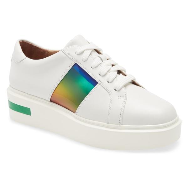 リネアパウロ レディース スニーカー シューズ Linea Paolo Karis Platform Sneaker (Women) White/ Green Leather