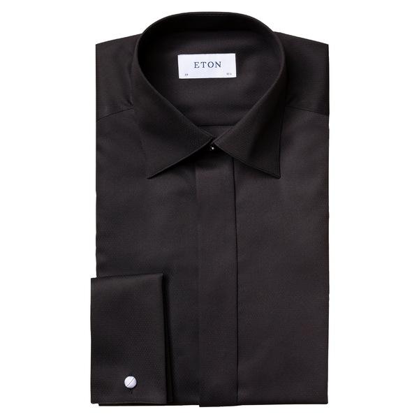 エトン メンズ シャツ トップス Eton Slim Fit Solid Dress Shirt Black