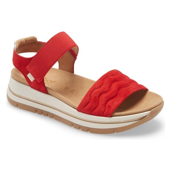 ガボール レディース サンダル シューズ Gabor Platform Sandal (Women) Red Nubuck Leather