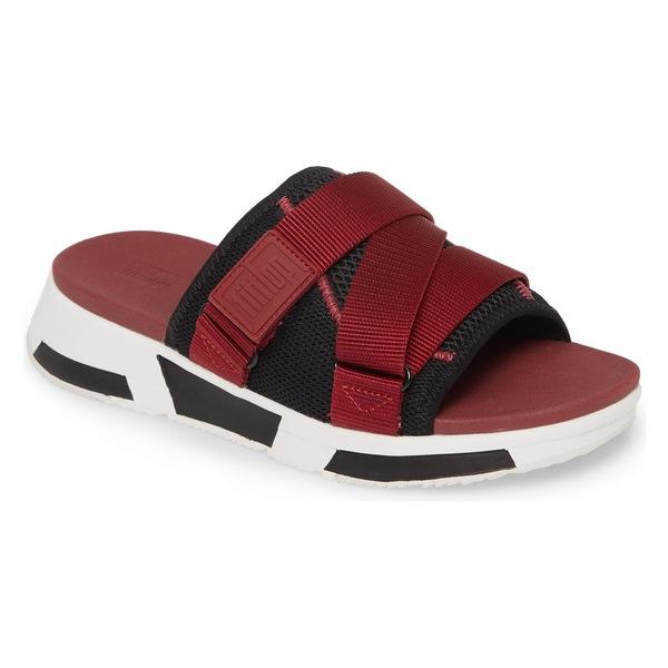フィットフロップ レディース サンダル シューズ FitFlop Alyssa Slide Sandal (Women) Maroon/ Black Fabric