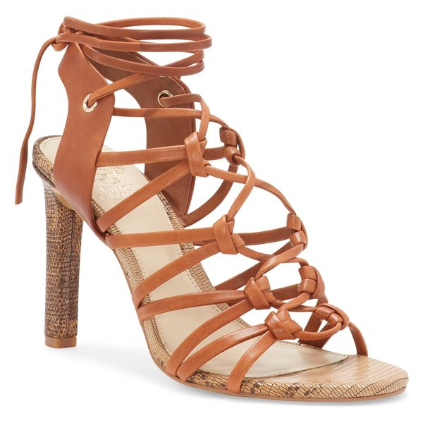 ヴィンスカムート レディース サンダル シューズ Vince Camuto Sherinda Cage Ankle Wrap Sandal (Women) Camel Brown Leather