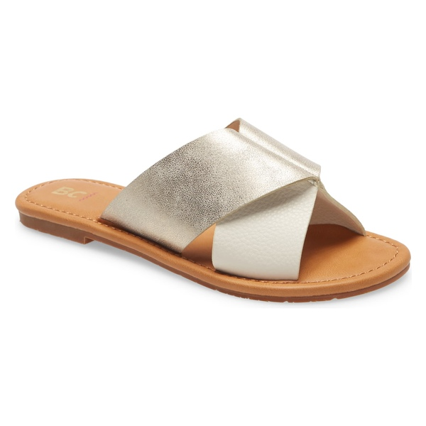 BCフットウェア レディース サンダル シューズ BC Footwear Fierce Vegan Slide Sandal (Women) Off White/ Gold Faux Leather