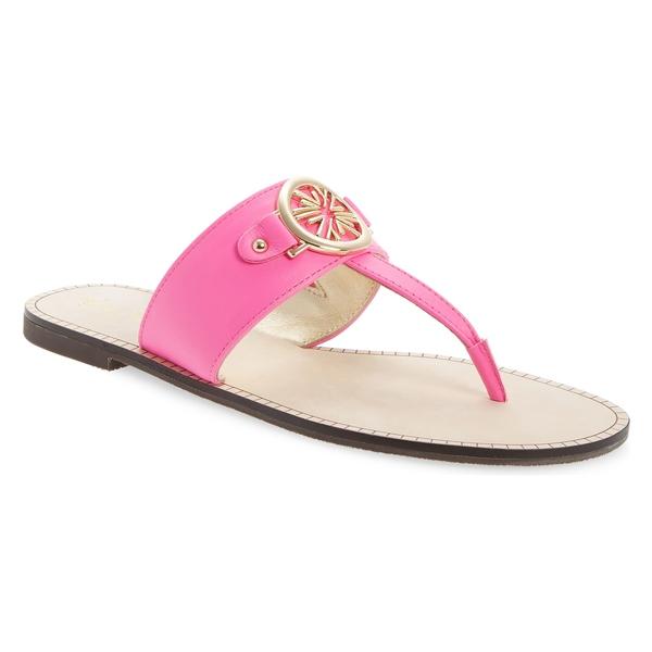 リリーピュリッツァー レディース サンダル シューズ Lilly Pulitzer Rousseau T-Strap Sandal (Women) Prosecco Pink Leather