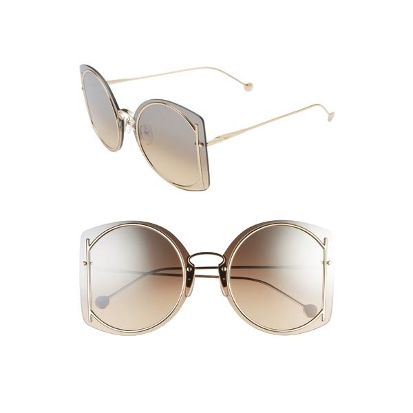 サルヴァトーレ フェラガモ レディース サングラス&アイウェア アクセサリー Salvatore Ferragamo 66mm Oversize Rimless Sunglasses Shiny Gold/ Brown