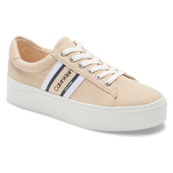 カルバンクライン レディース スニーカー シューズ Calvin Klein Jinjer Platform Sneaker (Women) Light Sand Canvas
