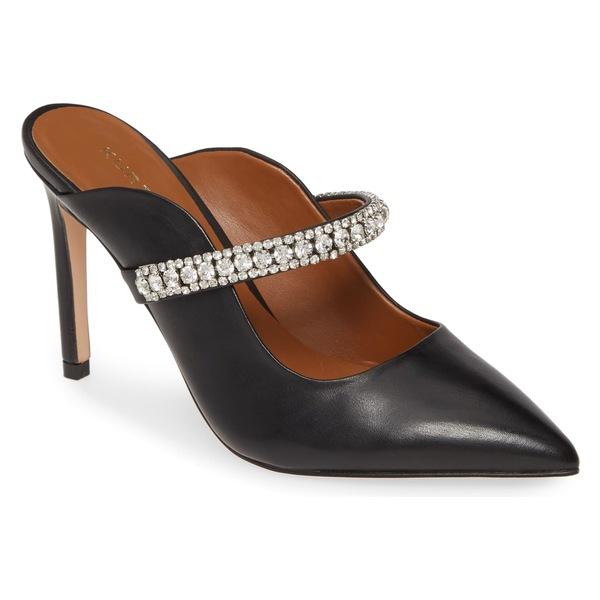 カートジェイガーロンドン レディース サンダル シューズ Kurt Geiger London Duke Crystal Strap Pointed Toe Mule (Women) Black Leather