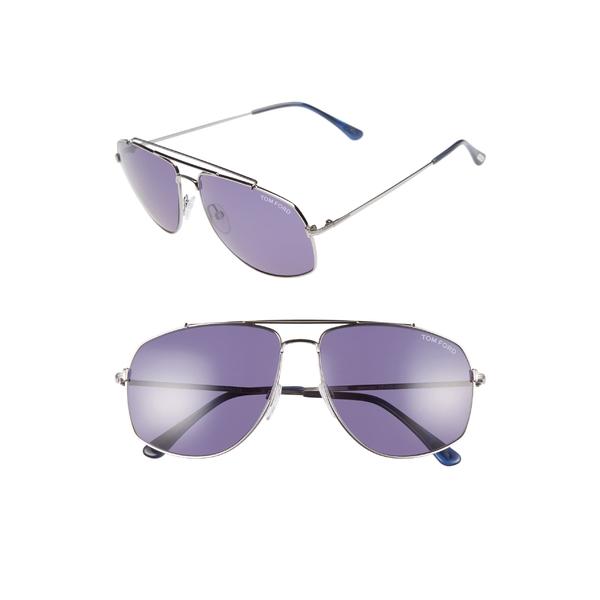 トム・フォード メンズ サングラス・アイウェア アクセサリー Tom Ford 59mm Aviator Sunglasses Silver/ Blue