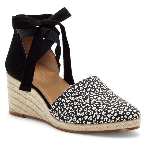 CCコルソコモ レディース サンダル シューズ CC Corso Como Romley Wedge Sandal (Women) Black/ White Canvas