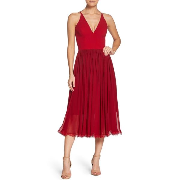 ドレスザポプレーション レディース ワンピース トップス Dress the Population Alicia Mixed Media Midi Dress Garnet