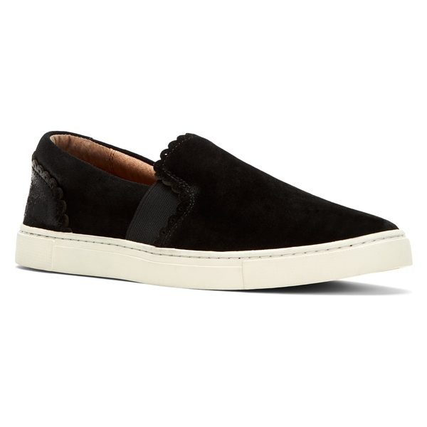 フライ レディース スニーカー シューズ Frye Ivy Scalloped Slip-On Sneaker (Women) Black