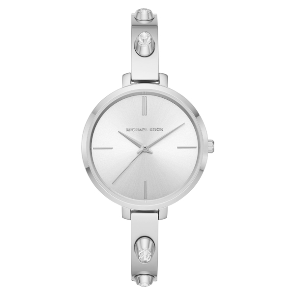 マイケルコース レディース 腕時計 アクセサリー Michael Kors Jaryn Crystal Accent Bangle Watch, 36mm Silver/ White/ Silver