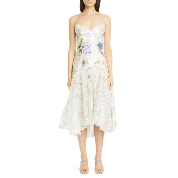 ロダルタ レディース ワンピース トップス Rodarte Floral Sequin High/Low Slip Dress Watercolor Hydrangea
