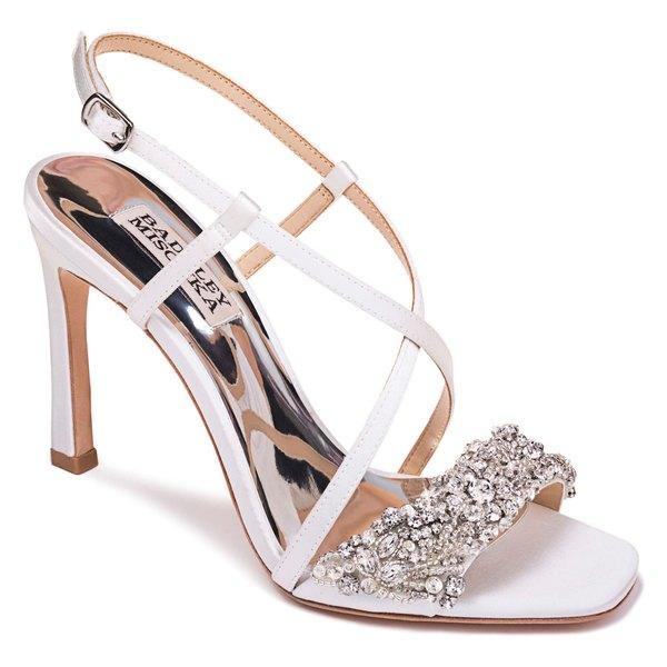 バッドグレイミッシカ レディース サンダル シューズ Badgley Mischka Elana Embellished Slingback Sandal (Women) Soft White Satin