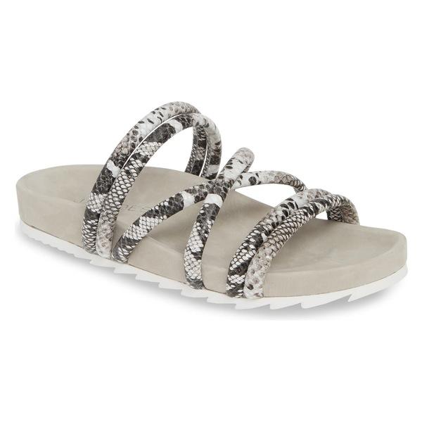 ジェースライズ レディース サンダル シューズ JSlides Tess Strappy Slide Sandal (Women) Black/ White Embossed Leather