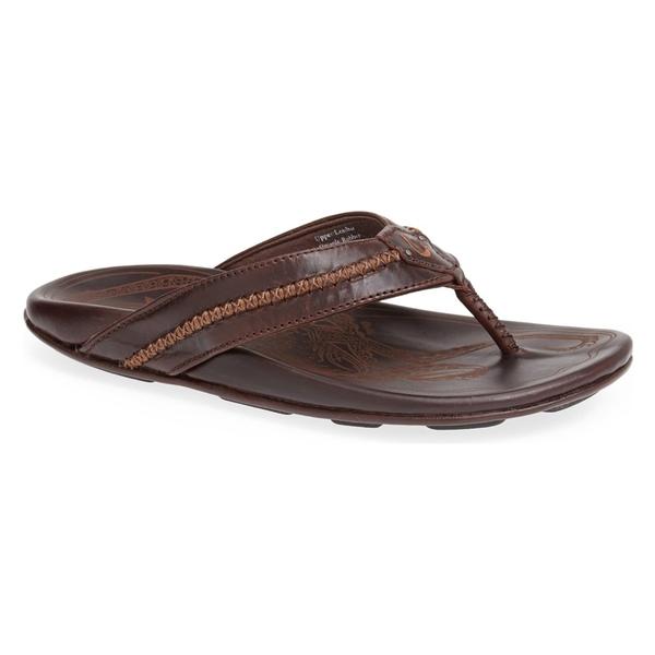 オルカイ メンズ サンダル シューズ OluKai Mea Ola Flip Flop (Men) Dark Java/ Dark Java Leather