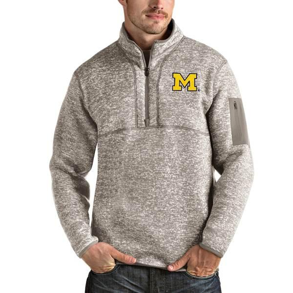 アンティグア メンズ ジャケット&ブルゾン アウター Michigan Wolverines Antigua Fortune Half-Zip Pullover Jacket Oatmeal