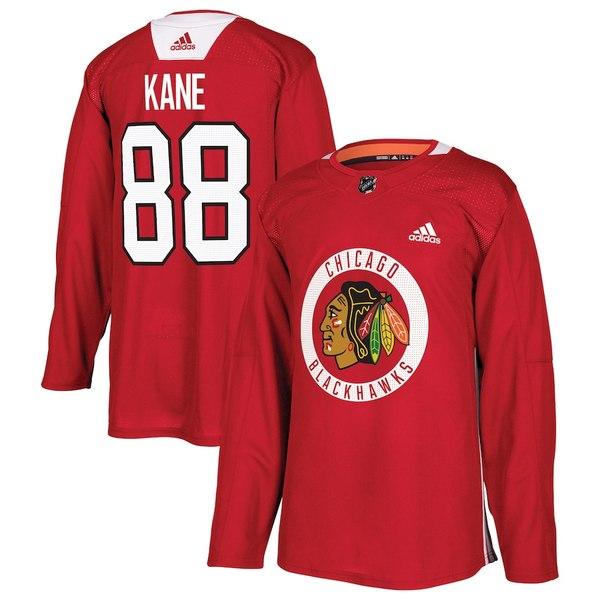 アディダス メンズ シャツ トップス Patrick Kane Chicago Blackhawks adidas Practice Player Jersey Red