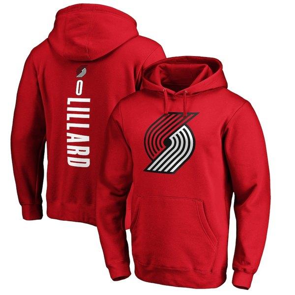 ファナティクス メンズ パーカー・スウェットシャツ アウター Damian Lillard Portland Trail Blazers Fanatics Branded Playmaker Name & Number Pullover Hoodie Red