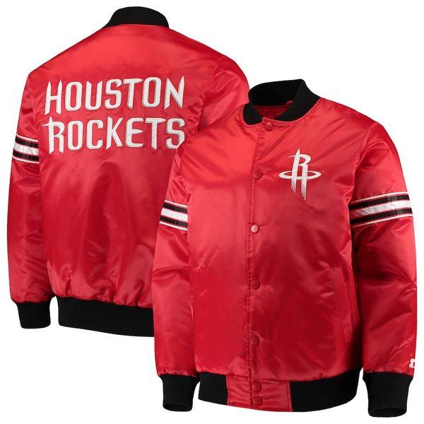 スターター メンズ ジャケット&ブルゾン アウター Houston Rockets Starter The Draft Pick Varsity Satin Full-Snap Jacket Red