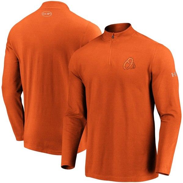アンダーアーマー メンズ ジャケット&ブルゾン アウター Baltimore Orioles Under Armour Passion Alternate Left Chest 1/4-Zip Jacket Orange