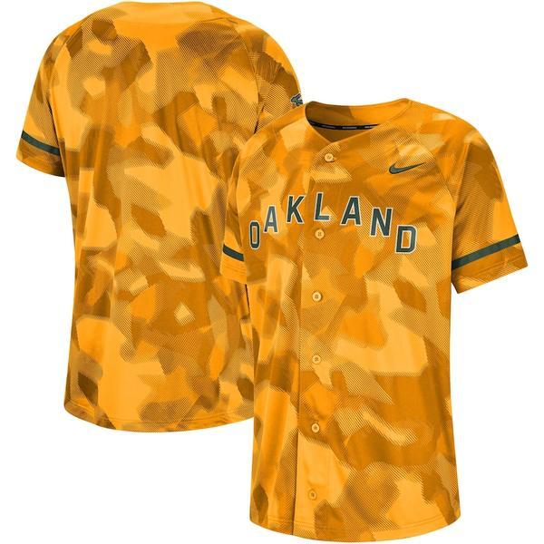 ナイキ メンズ シャツ トップス Oakland Athletics Nike Camo Jersey Gold