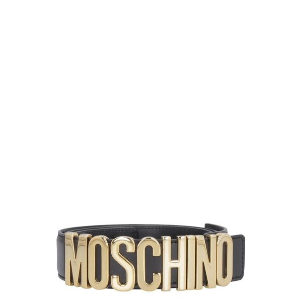 モスキーノ レディース ベルト アクセサリー Moschino Logo Buckle Leather Belt black