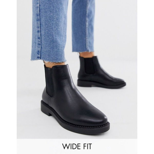 エイソス レディース ブーツ&レインブーツ シューズ ASOS DESIGN Wide Fit Auto chunky chelsea boots in black Black