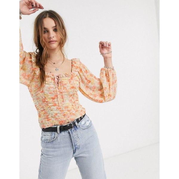 フリーピープル レディース シャツ トップス Free People mabel printed ruched blouse Yellow
