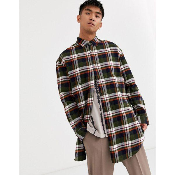 エイソス メンズ シャツ トップス ASOS DESIGN longline check shirt in khaki Khaki