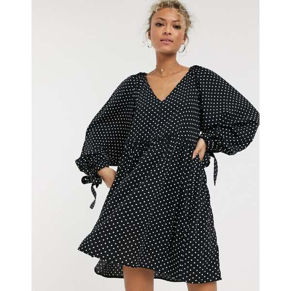 エイソス レディース ワンピース トップス ASOS DESIGN smock mini dress with pleat shoulder detail in mono polka dot Mono spot