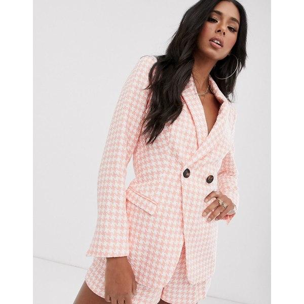エイソス レディース ジャケット&ブルゾン アウター ASOS DESIGN pink dogstooth suit blazer Check