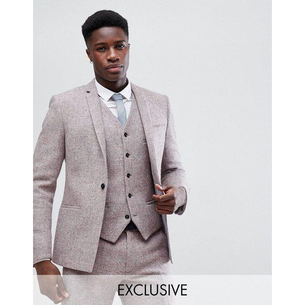 ノーク メンズ ジャケット&ブルゾン アウター Noak Skinny Suit Jacket In Harris Tweed Pink