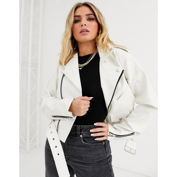 エイソス レディース ジャケット&ブルゾン アウター ASOS DESIGN white oversize leather look biker jacket White