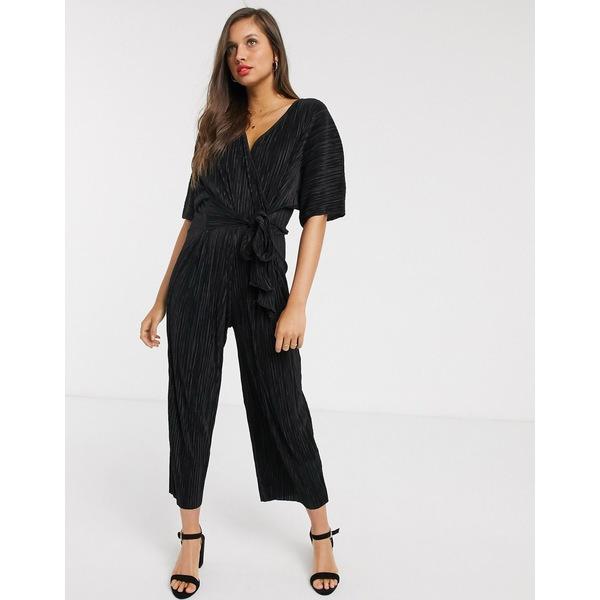 エイソス レディース ワンピース トップス ASOS DESIGN plisse wrap tie jumpsuit Black