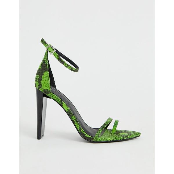エイソス レディース ヒール シューズ ASOS DESIGN Harper barely there heeled sandals in green snake Green snake