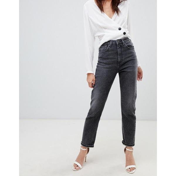 エイソス レディース デニムパンツ ボトムス ASOS DESIGN Farleigh high waisted slim mom jeans in extreme washed black S18/00456 nell