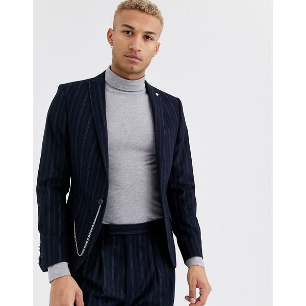 ツイステッドテイラー メンズ ジャケット&ブルゾン アウター Twisted Tailor super skinny suit jacket in navy stripe Navy