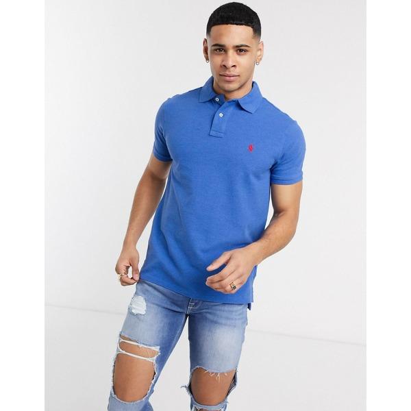 ラルフローレン メンズ ポロシャツ トップス Polo Ralph Lauren slim fit pique polo shirt in blue marl with logo Dockside blue