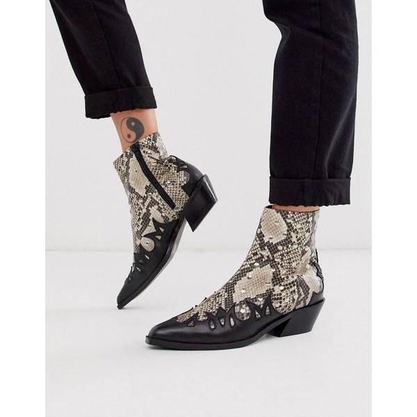 エイソス レディース ブーツ&レインブーツ シューズ ASOS DESIGN Atlanta studded western leather boots in snake Snake leather