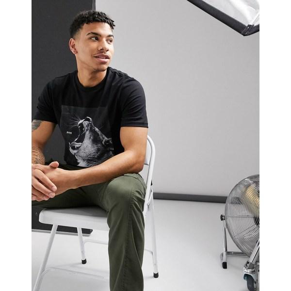 ボス メンズ Tシャツ トップス BOSS Troaar 2 lion print t-shirt in black Black