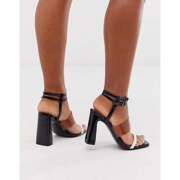 エイソス レディース サンダル シューズ ASOS DESIGN Native triple strap block heeled sandal Black mix