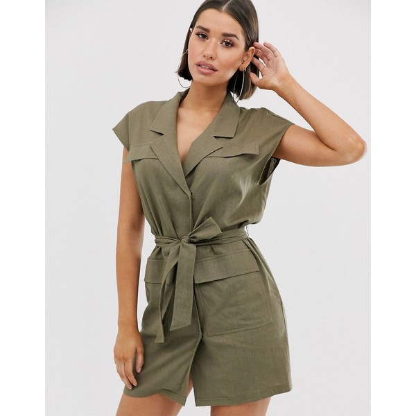 エイソス レディース ワンピース トップス ASOS DESIGN sleeveless utility mini dress with belt in linen Khaki