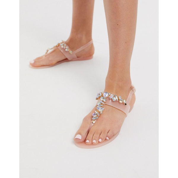 ロンドンレベル レディース サンダル シューズ London Rebel embellished jelly flat sandal Clear embellished