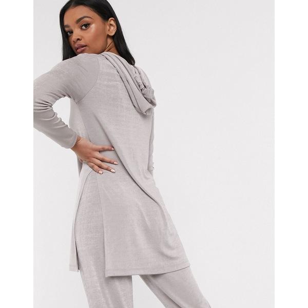 エイソス レディース パーカー・スウェットシャツ アウター ASOS DESIGN lounge mix & match slinky hoodie Gray