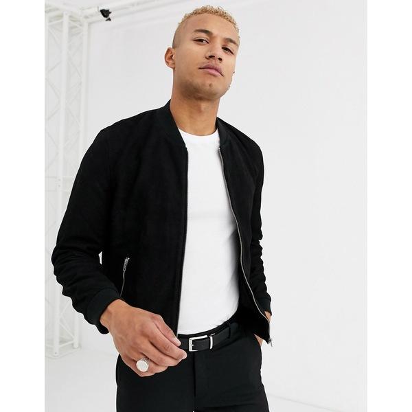 エイソス メンズ ジャケット&ブルゾン アウター ASOS DESIGN suede bomber jacket in black Black