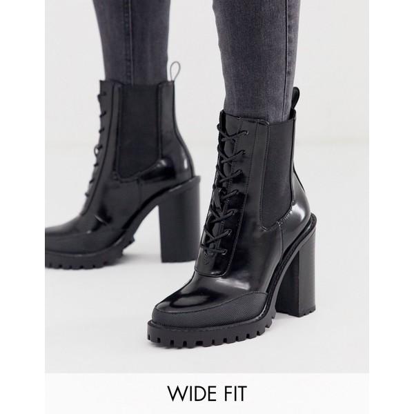 エイソス レディース ブーツ&レインブーツ シューズ ASOS DESIGN Wide Fit Ellen chunky lace up boots in black Black